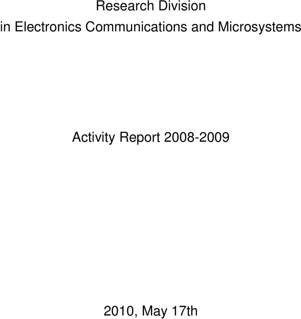 and Microsystems Activity