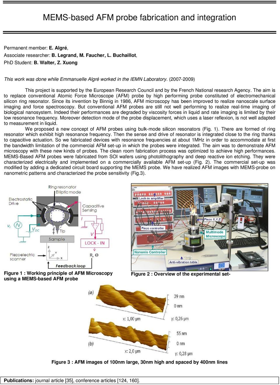 The aim is to replace conventional Atomic Force Microscope (AFM) probe by high performing probe constituted of electromechanical silicon ring resonator.