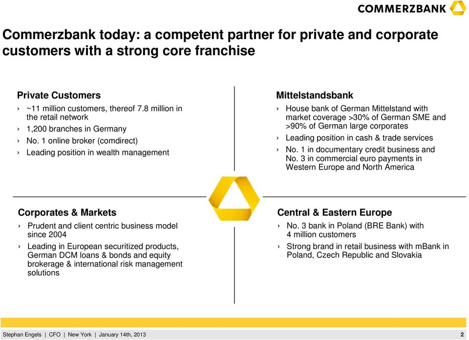 1 online broker (comdirect) Leading position in wealth management Mittelstandsbank House bank of German Mittelstand with market coverage >30% of German SME and >90% of German large corporates Leading
