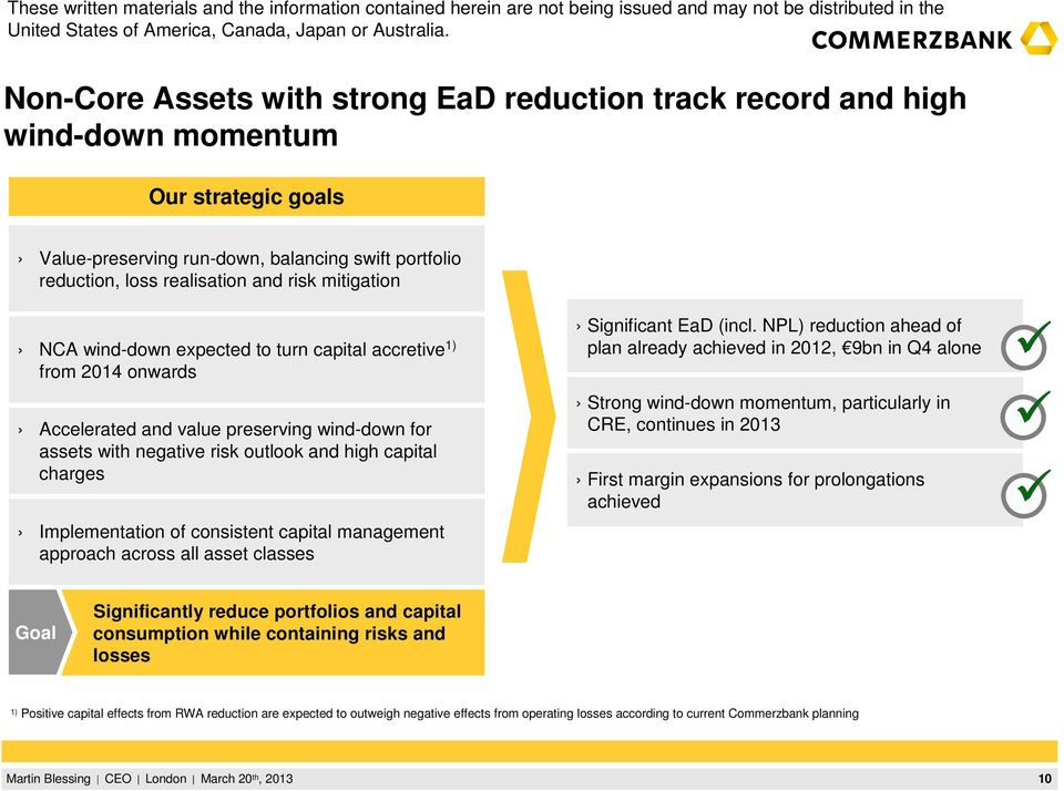 of consistent capital management approach across all asset classes Significant EaD (incl.