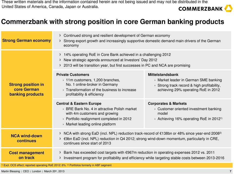 first successes in PC and NCA are promising Strong position in core German banking products Private Customers 11m customers, 1,200 branches, No.