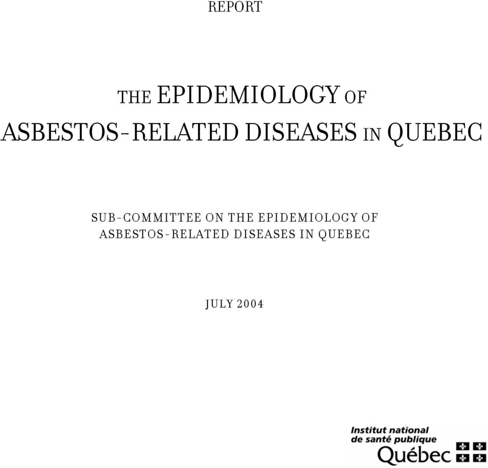 SUB-COMMITTEE ON THE EPIDEMIOLOGY OF