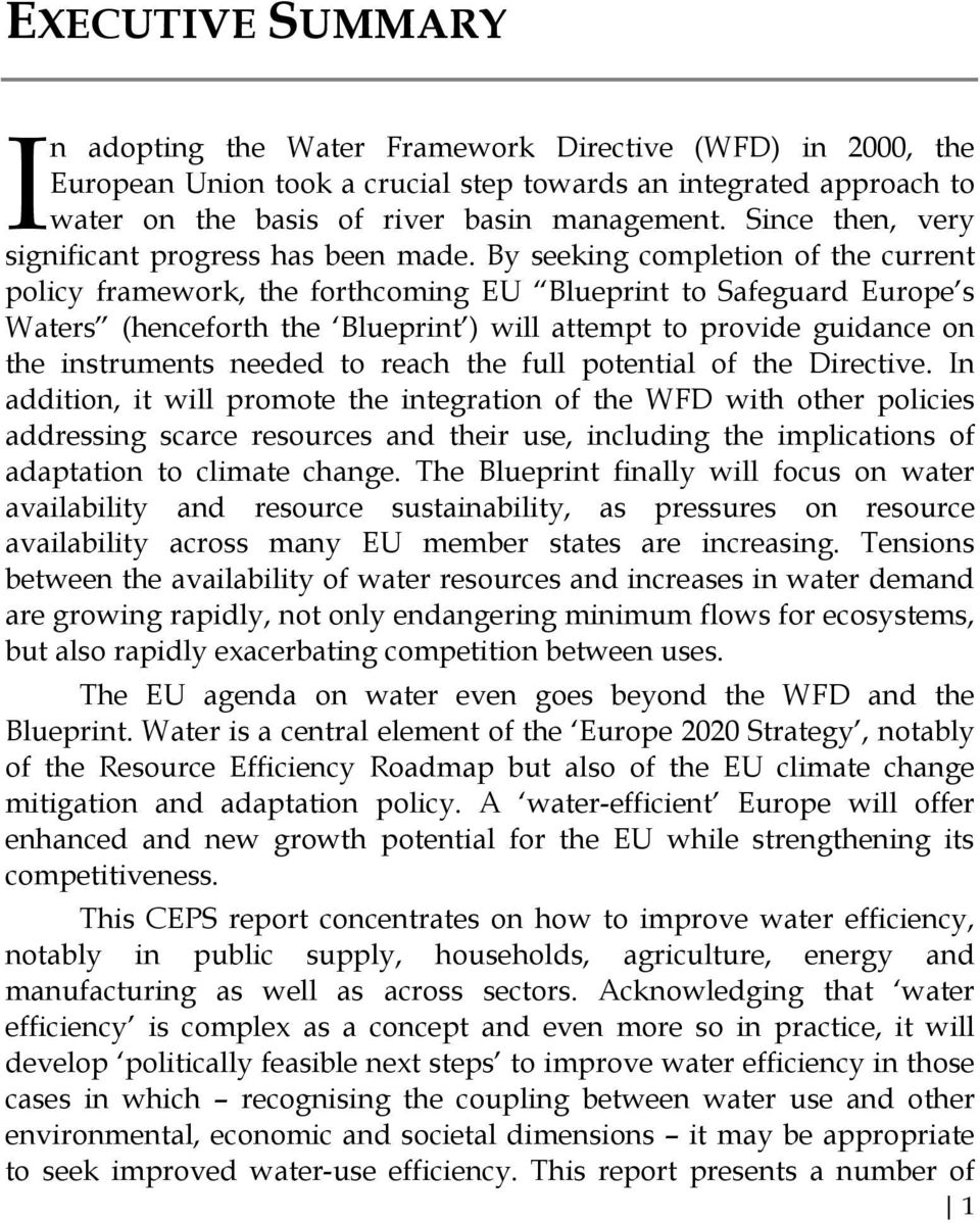 By seeking completion of the current policy framework, the forthcoming EU Blueprint to Safeguard Europe s Waters (henceforth the Blueprint ) will attempt to provide guidance on the instruments needed