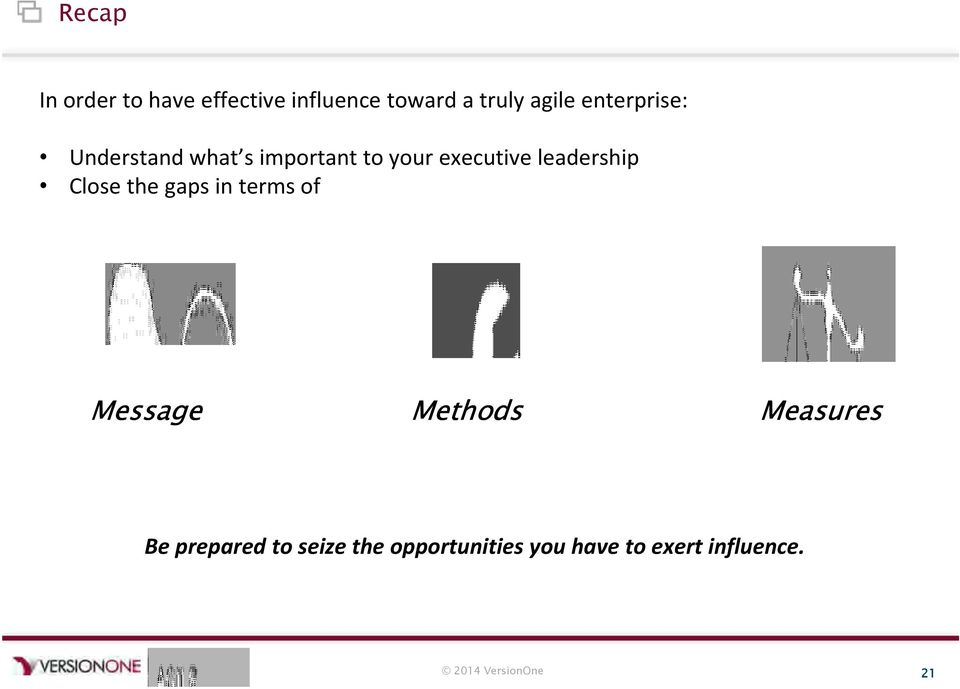 leadership Close the gaps in terms of Message Methods Measures Be