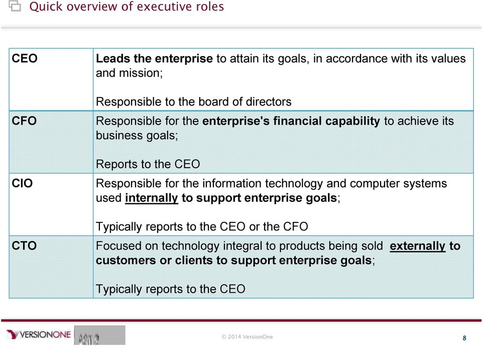 the information technology and computer systems used internally to support enterprise goals; Typically reports to the CEO or the CFO Focused on