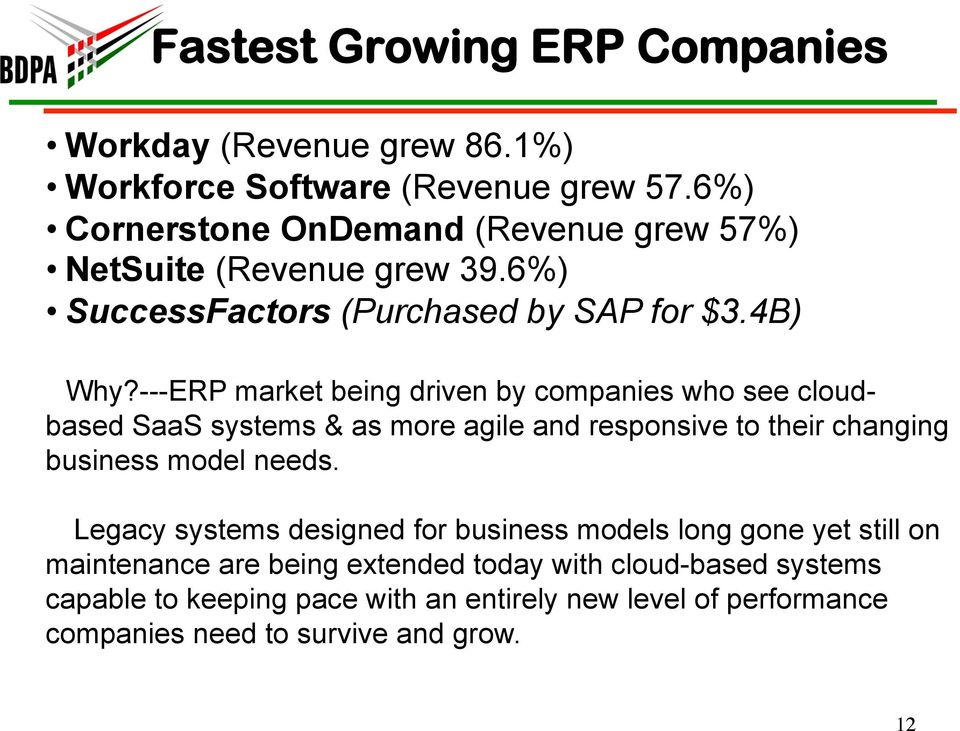 ---ERP market being driven by companies who see cloudbased SaaS systems & as more agile and responsive to their changing business model needs.