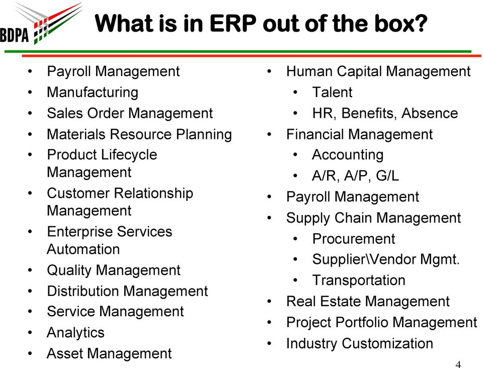 Management Enterprise Services Automation Quality Management Distribution Management Service Management Analytics Asset Management Human