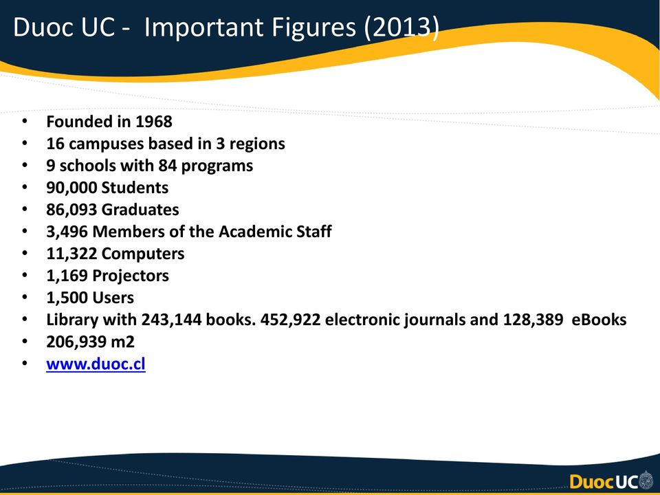 Members of the Academic Staff 11,322 Computers 1,169 Projectors 1,500 Users