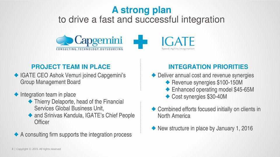 supports the integration process INTEGRATION PRIORITIES Deliver annual cost and revenue synergies Revenue synergies $100-150M Enhanced operating model $45-65M
