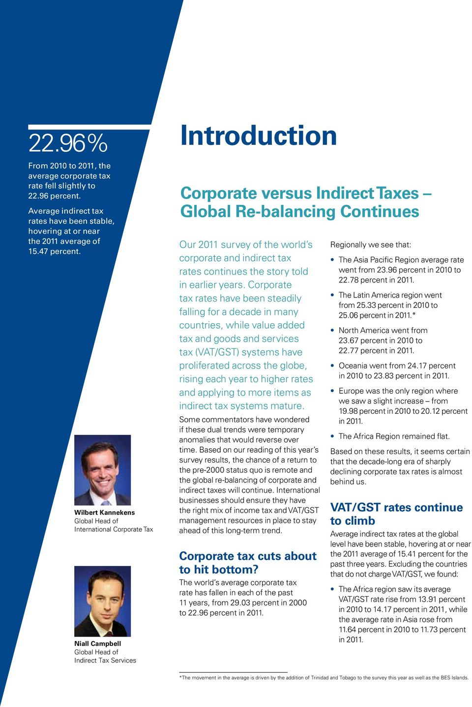 Wilbert Kannekens Global Head of International Corporate Tax Niall Campbell Global Head of Indirect Tax Services Introduction Corporate versus Indirect Taxes Global Re-balancing Continues Our 2011