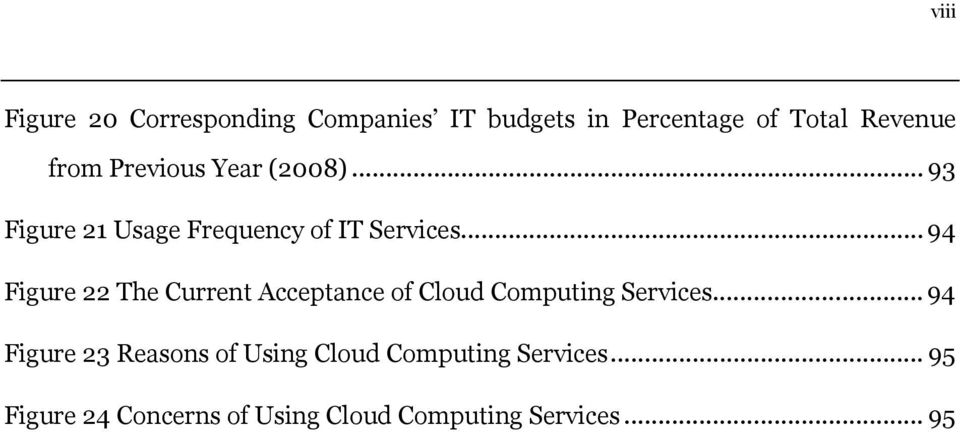 .. 94 Figure 22 The Current Acceptance of Cloud Computing Services.