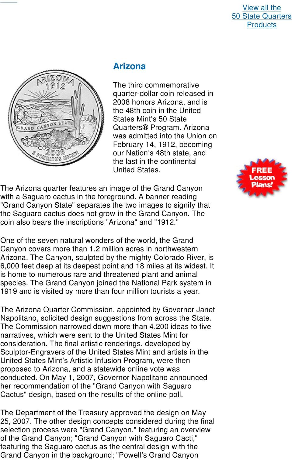 The Arizona quarter features an image of the Grand Canyon with a Saguaro cactus in the foreground.