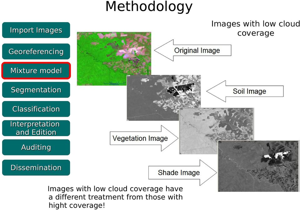 Dissemination Images with low cloud coverage have a different
