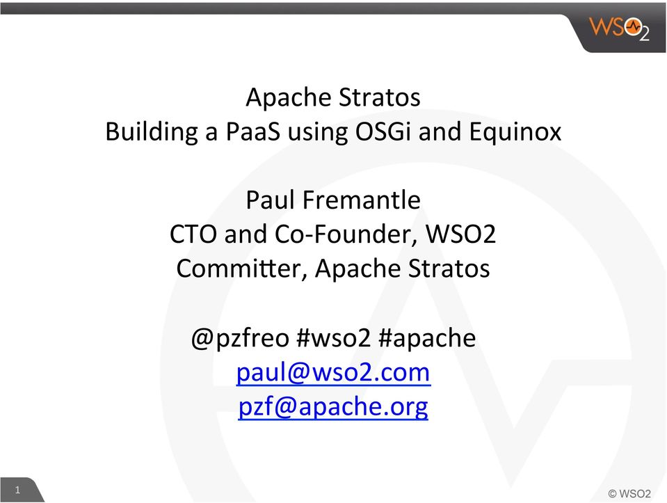 Founder, WSO2 CommiCer, Apache Stratos