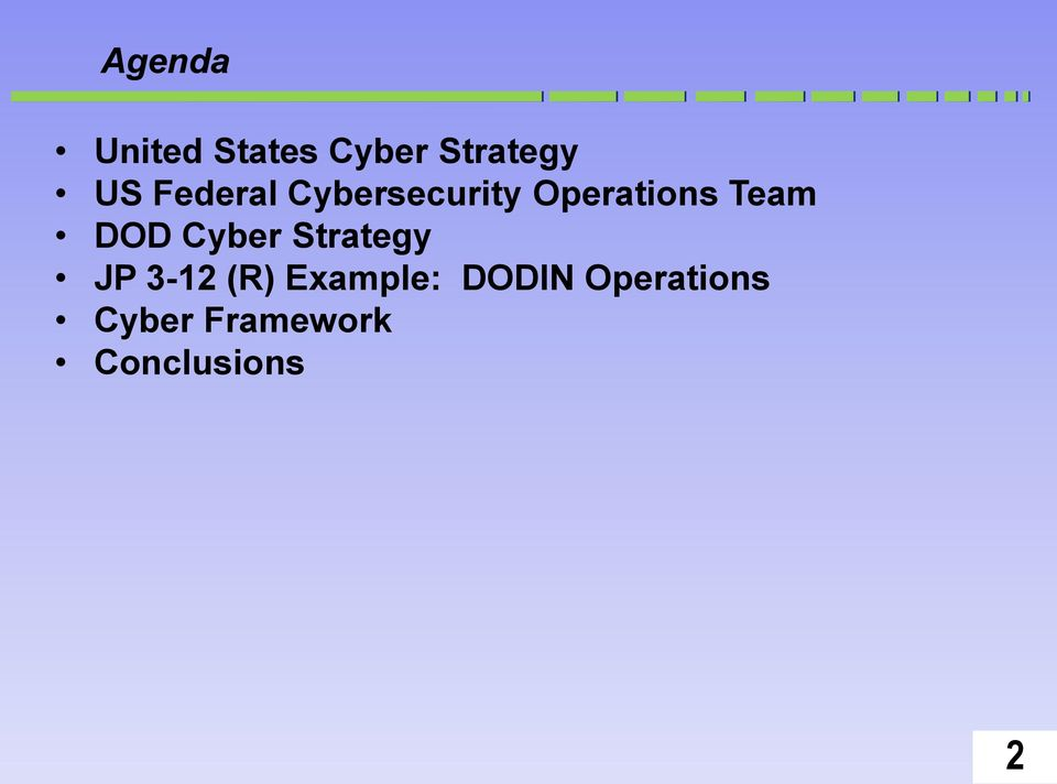 DOD Cyber Strategy JP 3-12 (R) Example: