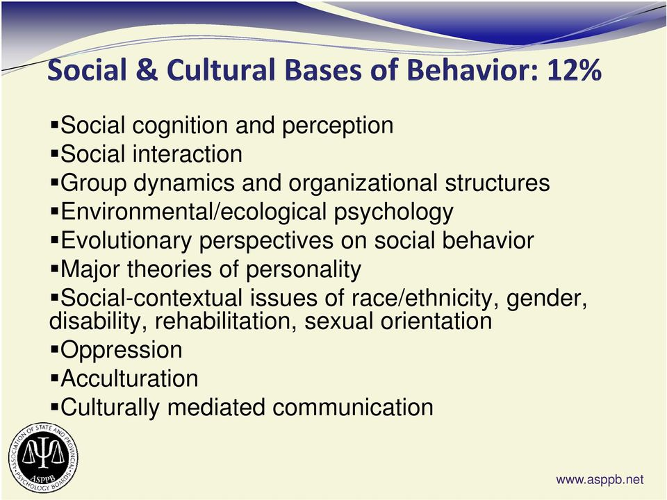 behavior Major theories of personality Social-contextual issues of race/ethnicity, gender,