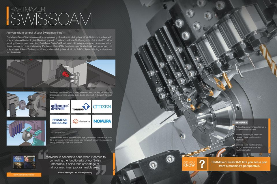 money. PartMaker SwissCAM has been specifically developed to support the unique capabilities of Swiss-type lathes, such as sliding headstock, tool shifts, thread whirling and process synchronization.
