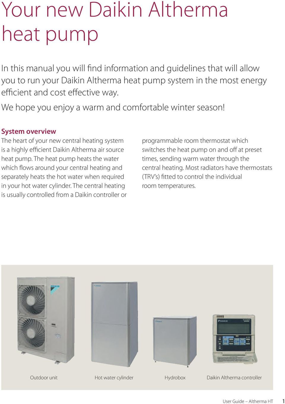 The heat pump heats the water which flows around your central heating and separately heats the hot water when required in your hot water cylinder.