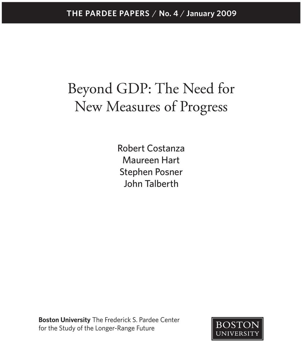 Need for New Measures of Progress