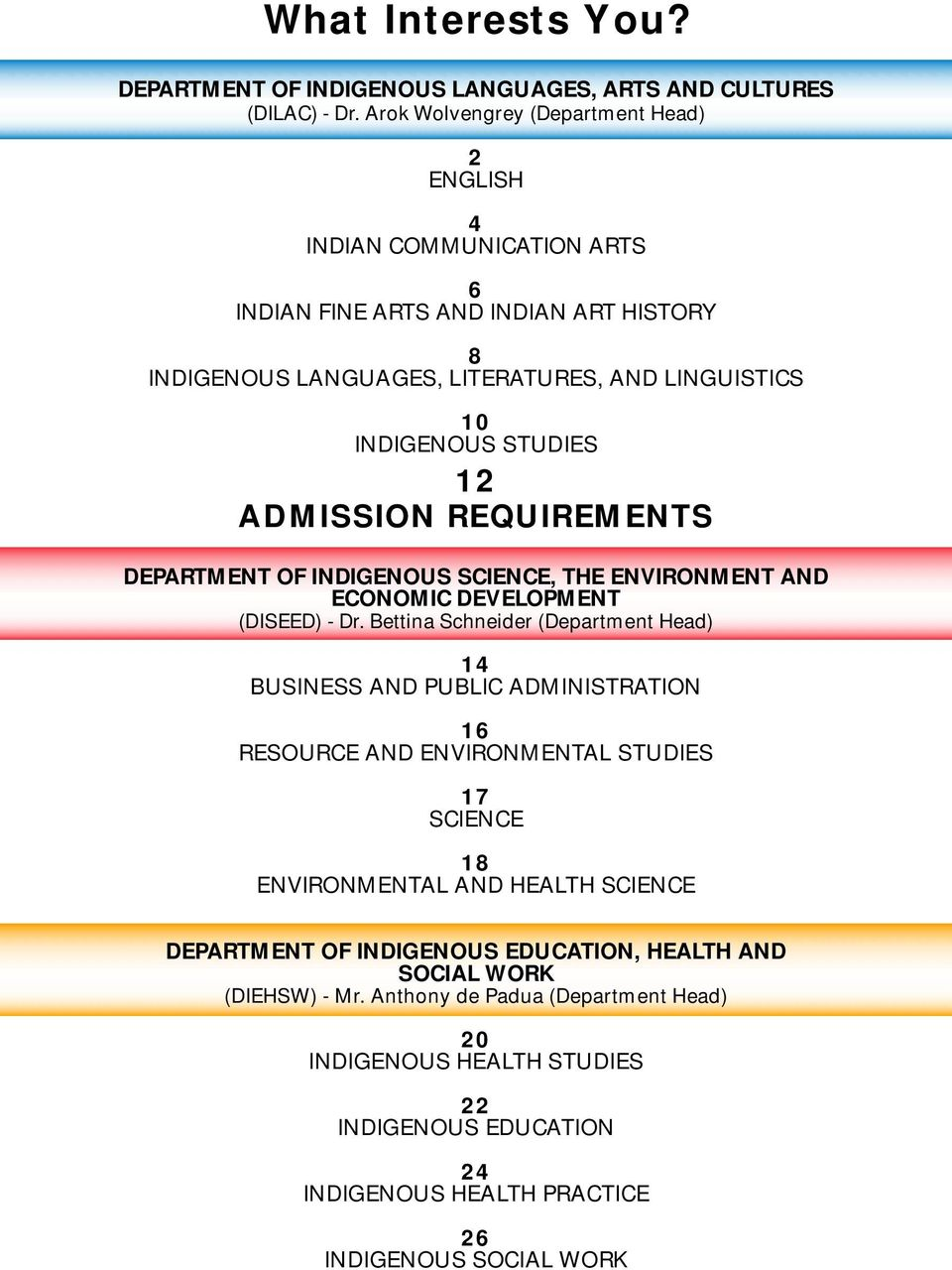 ADMISSION REQUIREMENTS DEPARTMENT OF INDIGENOUS SCIENCE, THE ENVIRONMENT AND ECONOMIC DEVELOPMENT (DISEED) - Dr.