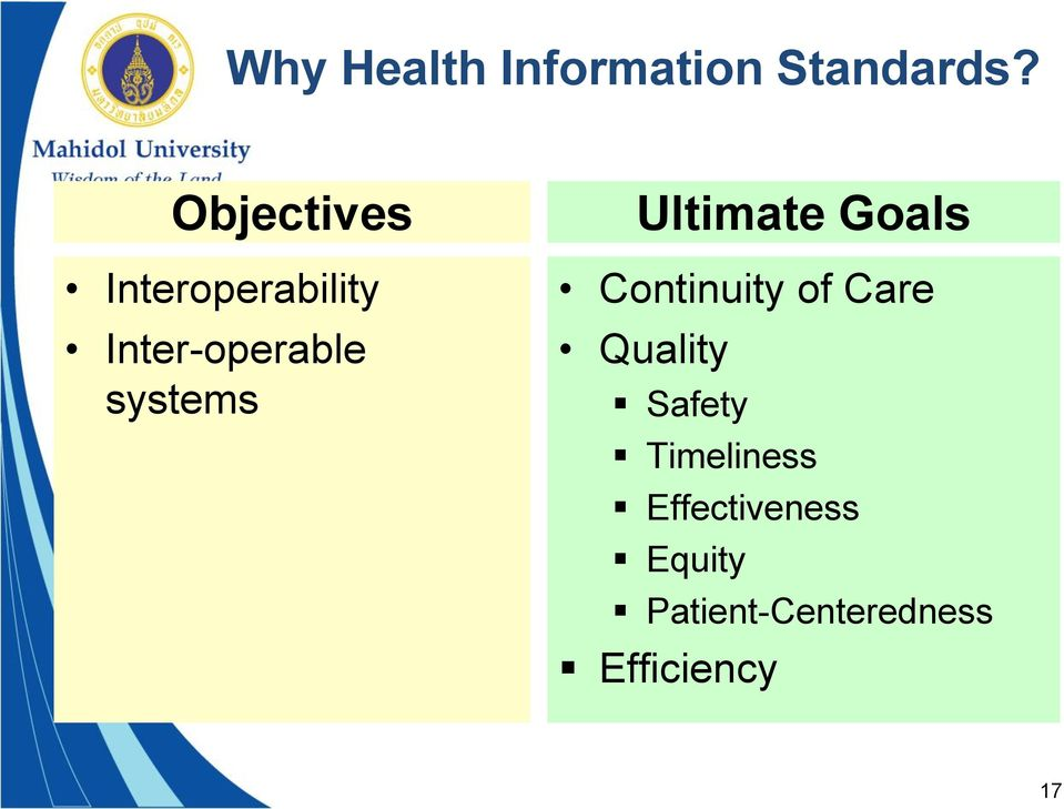 systems Ultimate Goals Continuity of Care Quality