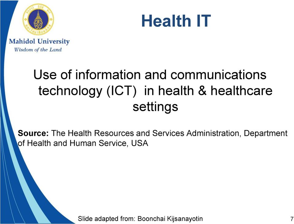 Resources and Services Administration, Department of Health