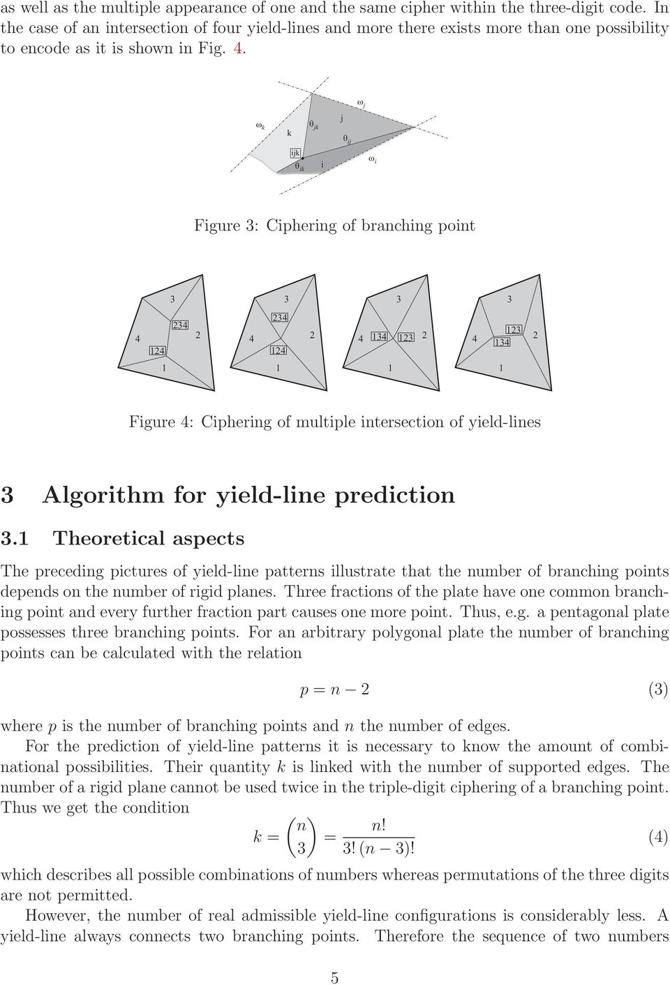 . j k k jk j ij ijk ik i i Figure : Ciphering of branching point Figure : Ciphering of multiple intersection of yield-lines Algorithm for yield-line prediction.