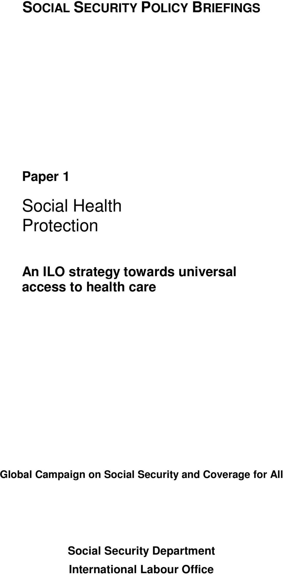 health care Global Campaign on Social Security and