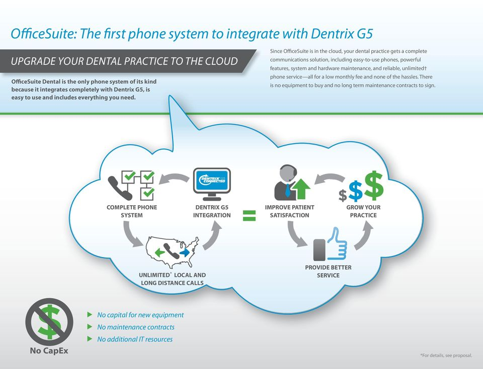 Since OfficeSuite is in the cloud, your dental practice gets a complete communications solution, including easy-to-use phones, powerful features, system and hardware maintenance, and reliable,