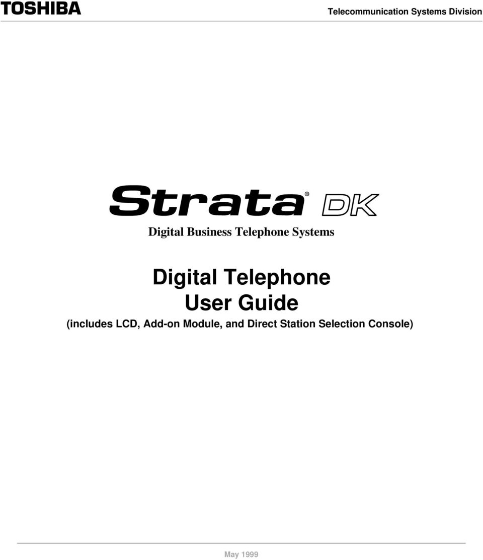 Telephone User Guide (includes LCD, Add-on