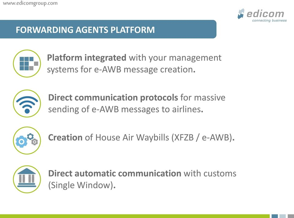 Direct communication protocols for massive sending of e-awb messages to