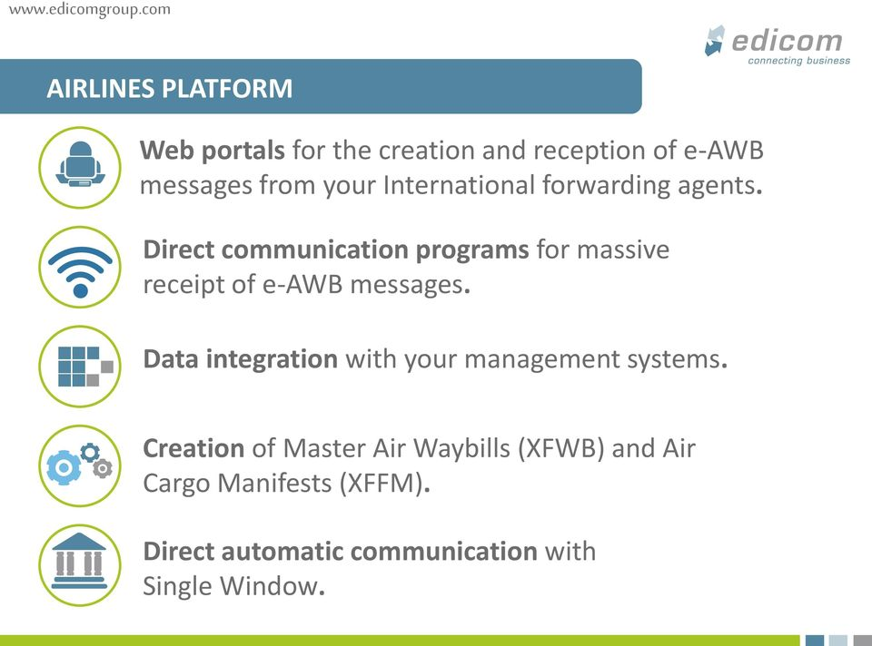 Direct communication programs for massive receipt of e-awb messages.