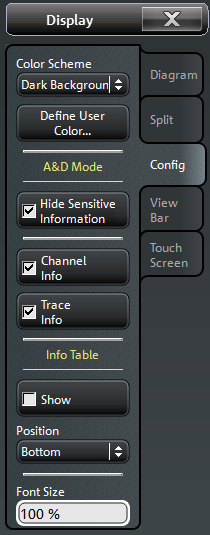 "Operating the Instrument Control Elements of the Screen Softtool panels may contain different types of control elements: A button with a double arrow (e.g. ""Color Scheme"" in the example above) opens a list of alternative settings."