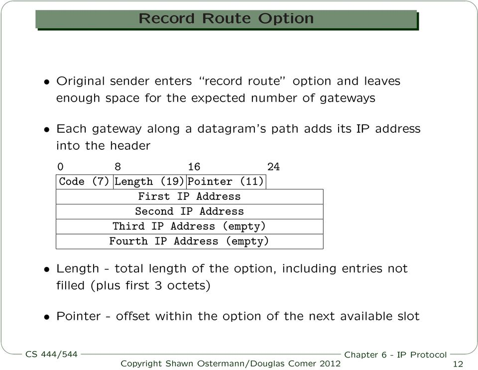 (11) First IP Address Second IP Address Third IP Address (empty) Fourth IP Address (empty) Length - total length of the