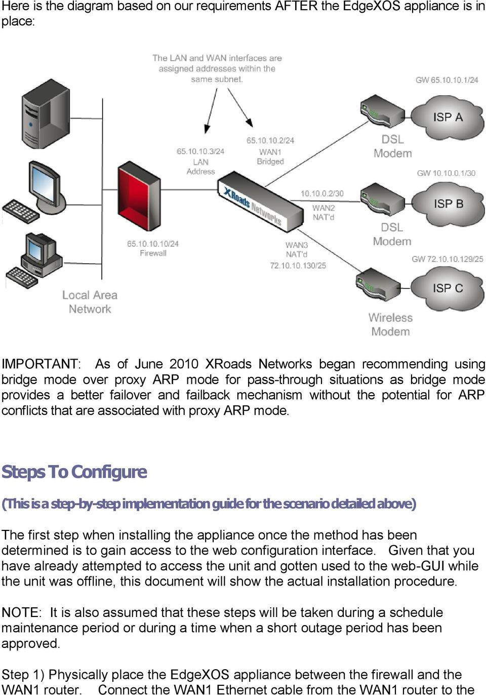 Steps To Configure (This is a step-by-step implementation guide for the scenario detailed above) The first step when installing the appliance once the method has been determined is to gain access to