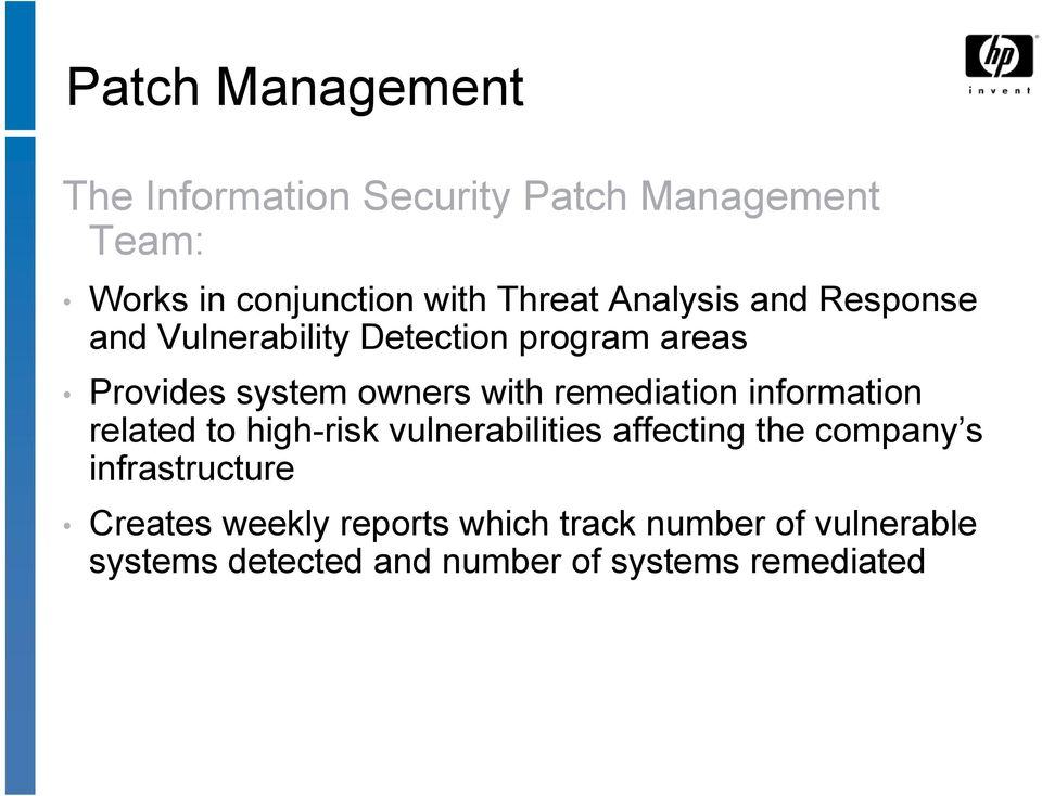 remediation information related to high-risk vulnerabilities affecting the company s