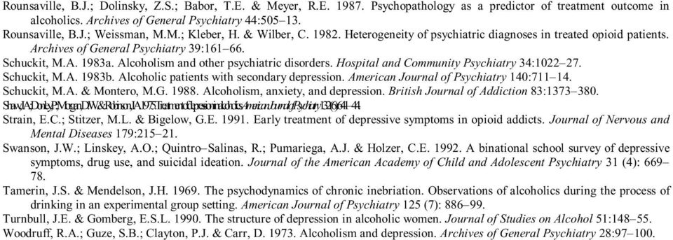 Alcoholism and other psychiatric disorders. Hospital and Community Psychiatry 34:1022 27. Schuckit, M.A. 1983b. Alcoholic patients with secondary depression. American Journal of Psychiatry 140:711 14.