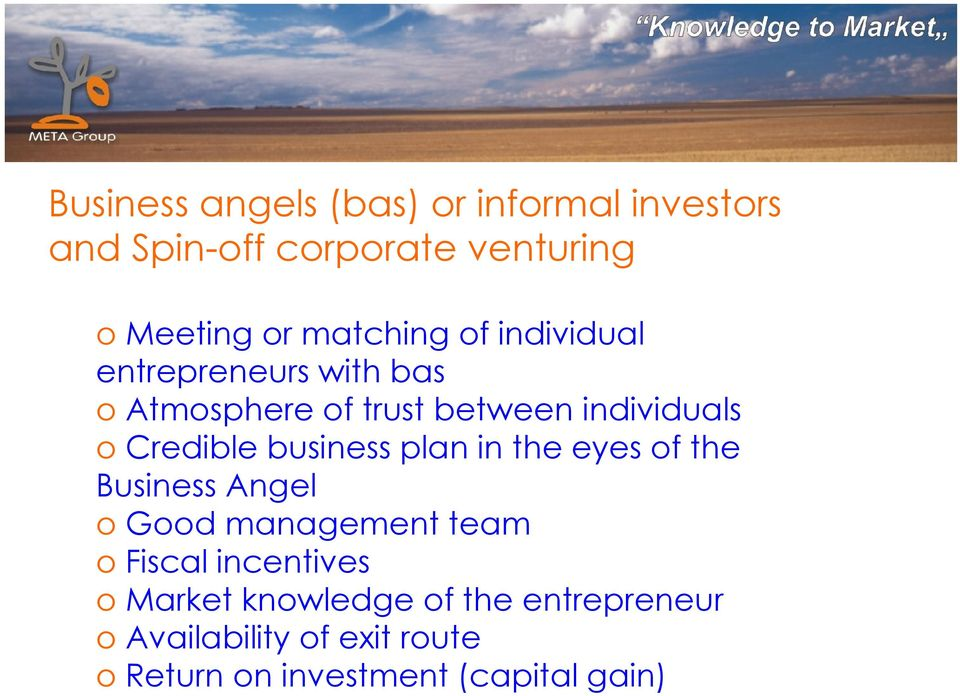 Credible business plan in the eyes of the Business Angel o Good management team o Fiscal