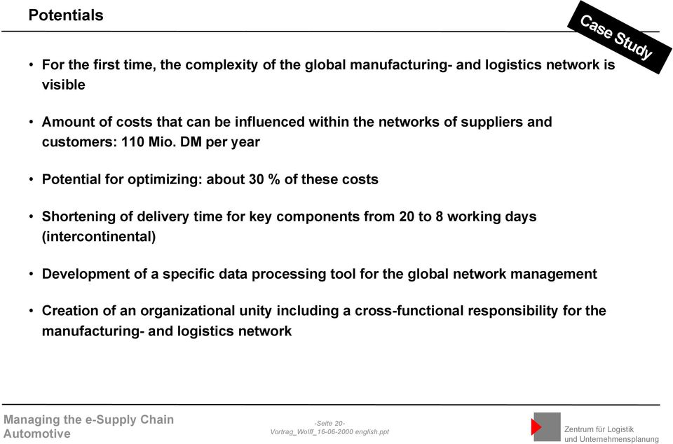 DM per year Potential for optimizing: about 30 % of these costs Shortening of delivery time for key components from 20 to 8 working days