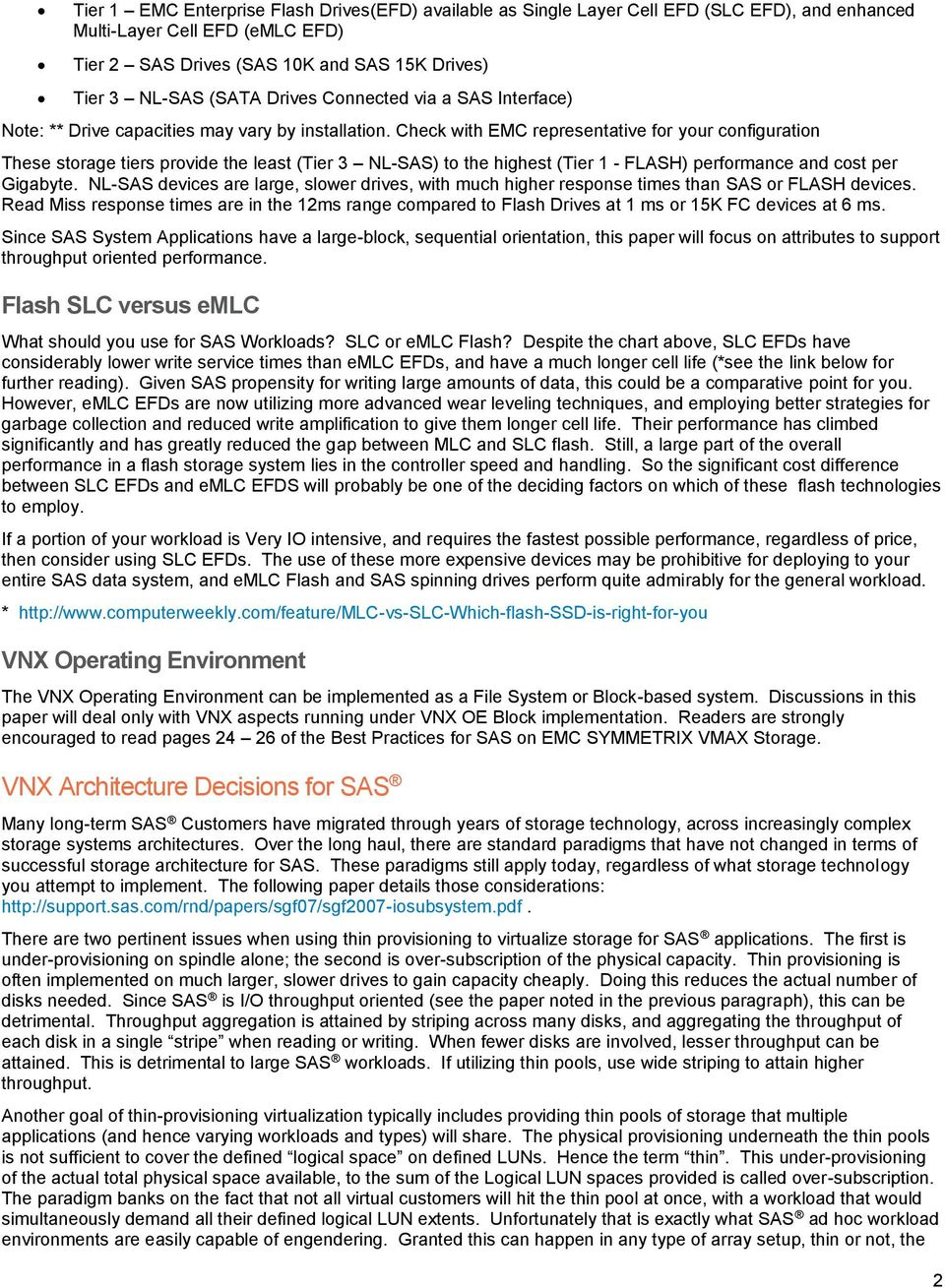 Technical Paper  Best Practices for SAS on EMC VNX Unified