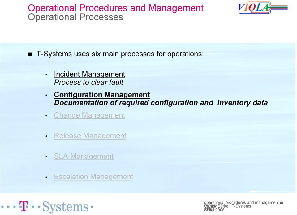 Process to clear fault Configuration Management Documentation of required