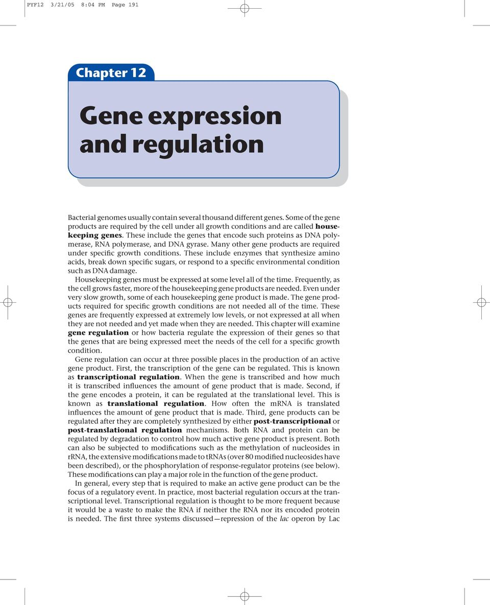 These include the genes that encode such proteins as DNA polymerase, RNA polymerase, and DNA gyrase. Many other gene products are required under specific growth conditions.