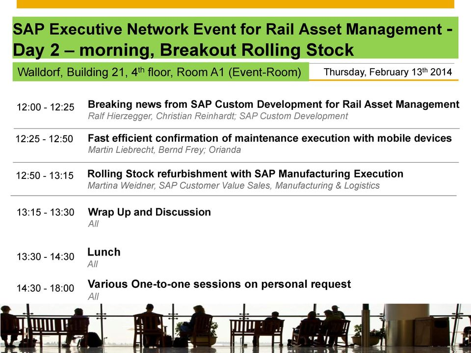 Development for Rail Asset Management Ralf Hierzegger, Christian Reinhardt; SAP Custom Development Fast efficient confirmation of maintenance execution with mobile devices