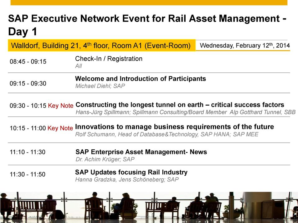Introduction of Participants Michael Diehl; SAP 09:30-10:15 Key Note 10:15-11:00 Key Note Constructing the longest tunnel on earth critical success factors Hans-Jürg Spillmann;