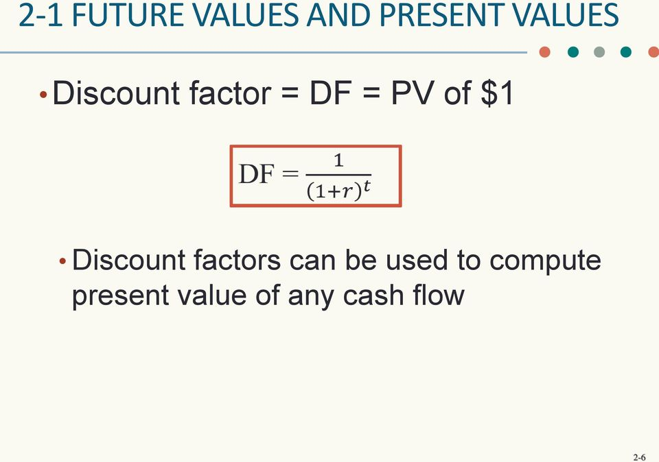 $1 Discount factors can be used to