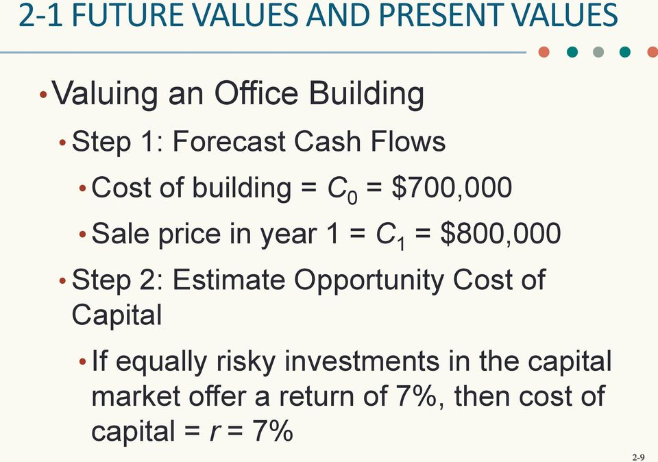 1 = $800,000 Step 2: Estimate Opportunity Cost of Capital If equally risky