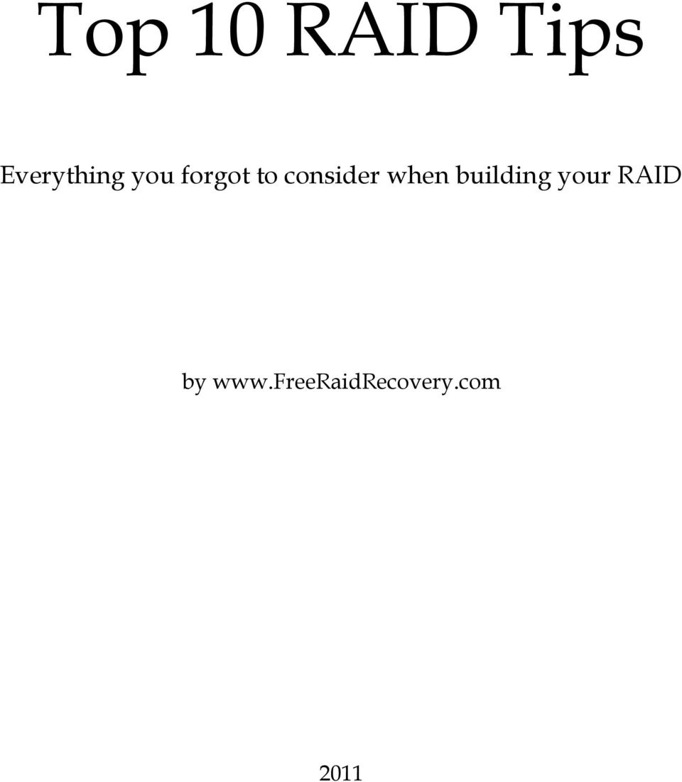 building your RAID by