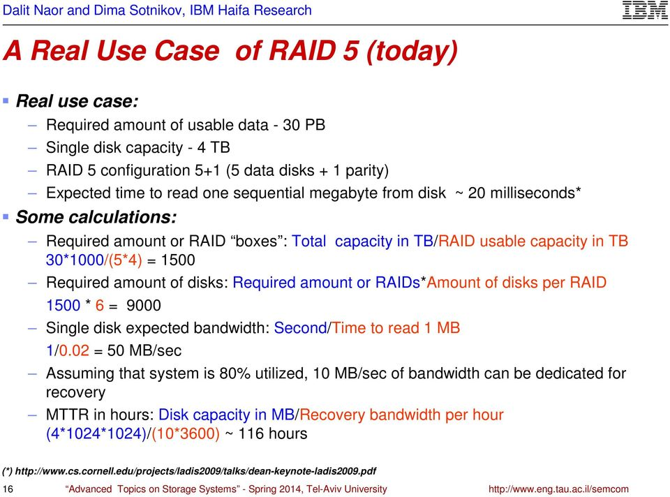 Required amount or RAIDs*Amount of disks per RAID 1500 * 6 = 9000 Single disk expected bandwidth: Second/Time to read 1 MB 1/0.