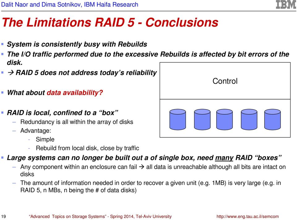 Control RAID is local, confined to a box Redundancy is all within the array of disks Advantage: - Simple - Rebuild from local disk, close by traffic Large systems can no longer be built out a of