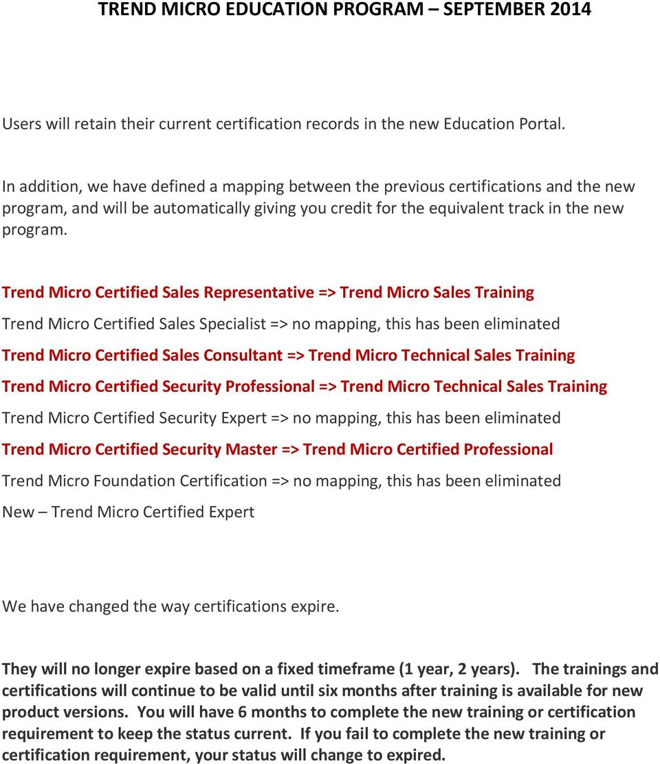 Trend Micro Certified Sales Representative => Trend Micro Sales Training Trend Micro Certified Sales Specialist => no mapping, this has been eliminated Trend Micro Certified Sales Consultant => Trend